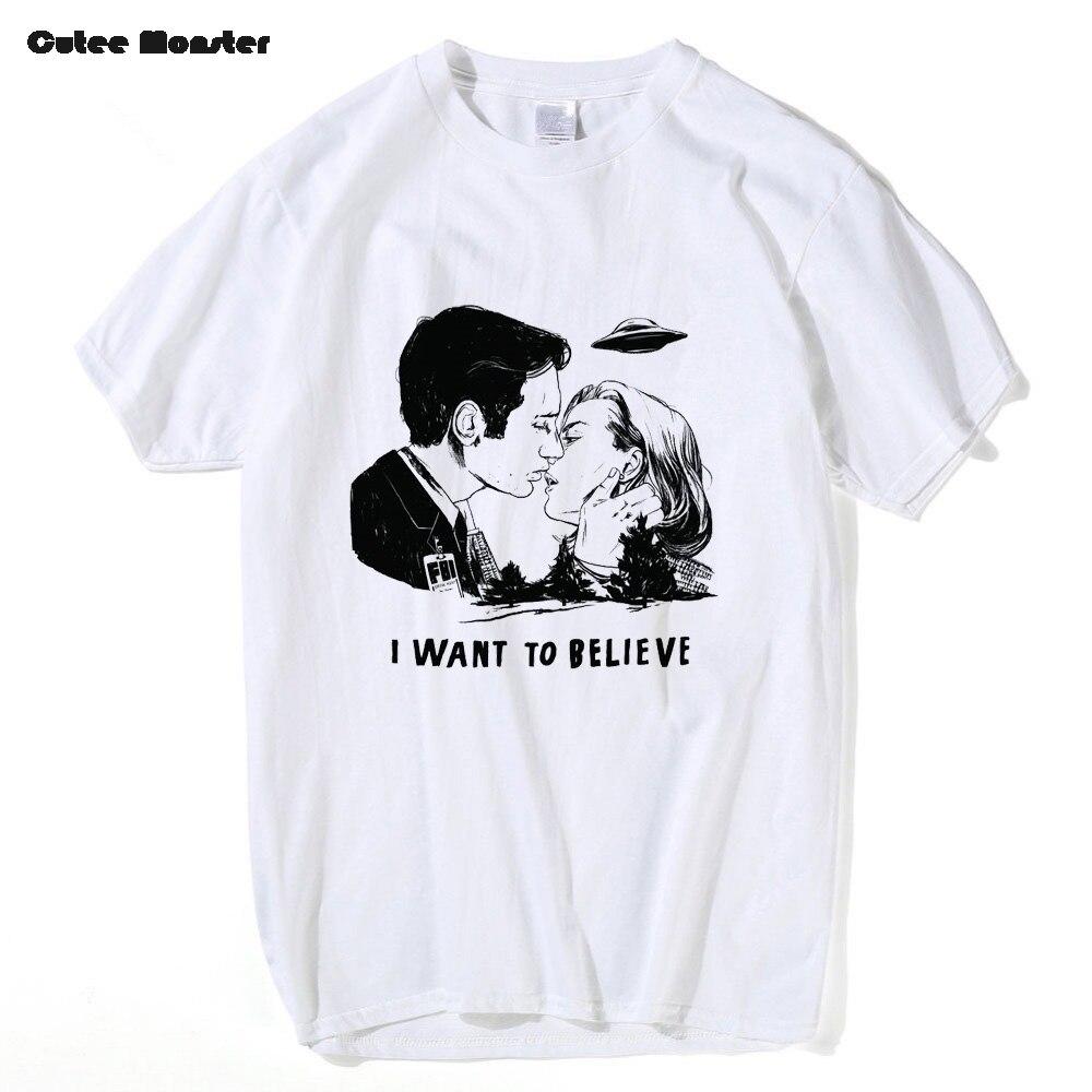 X-файлы футболка Для мужчин модные Малдер и Скалли я хочу верить футболка мужской хлопок хип-хоп НЛО летние футболки поцелуй печатных верхне... ...