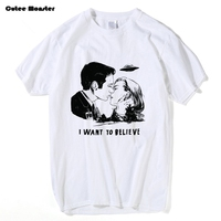X FILES T Shirt Men Fashion Mulder Scully I Want To Believe T Shirt Male Cotton