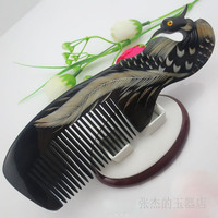 Naural Phoenix horn comb, pure hand grinding, cooling, anti shedding massage, lovers horn comb