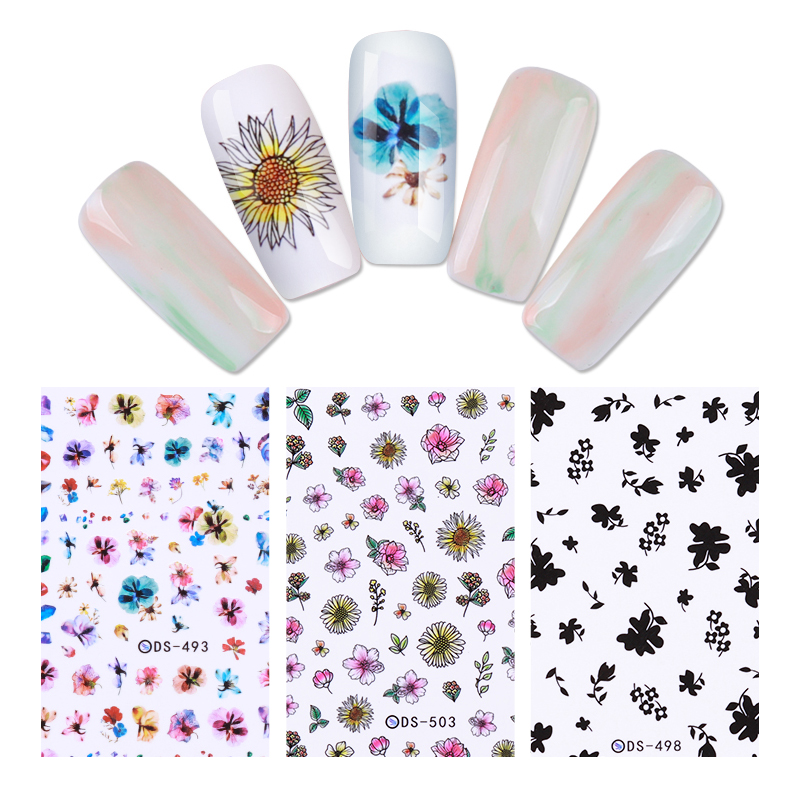 2 Sheets Colorful Flower Floral Nail Water Decals Kit