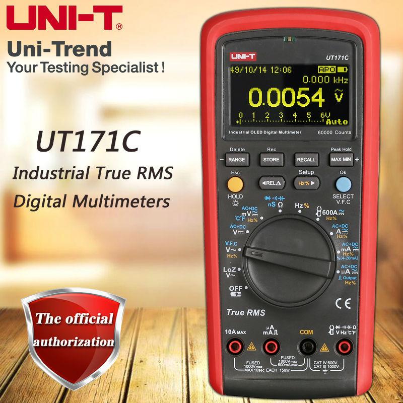 Multimètre numérique RMS industriel UT171C de UNI-T/affichage OLED/entrée à faible impédance LoZ/mesure de fréquence VFC/USB/Bluetooth