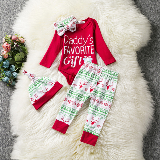 red new year santa baby first christmas clothing sets newborn baby boys girls 1 year birthday