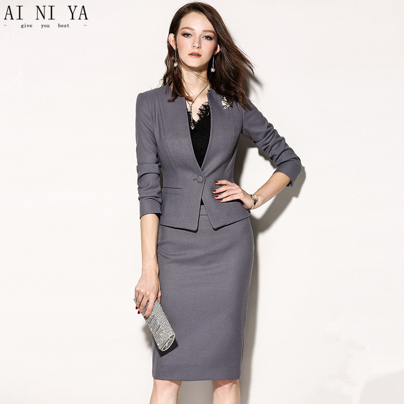 8b657c367c3 Fashion Women Skirt Suits Gray Long Sleeve Slim Women Professional Outfit  Suits 2 Piece Suits Female