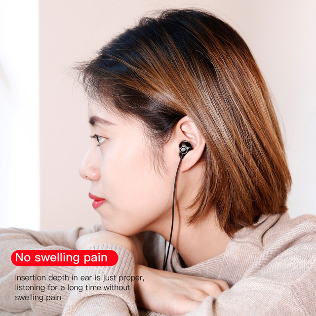 Baseus 6D Stereo In-ear Earphone Headphones Wired Control Bass Sound Earbuds for iPhone Xiaomi Huawei 3.5mm Type c Earphones