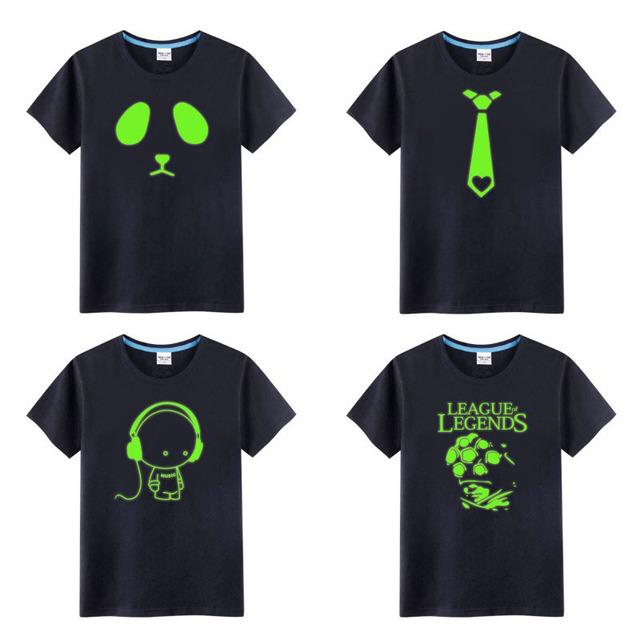 Crianças de Algodão Fluorescente Personalizado Novidade Luminous Marca Tee Tops Meninos e Meninas Camiseta Luz da Noite Roupa Dos Miúdos asseclas