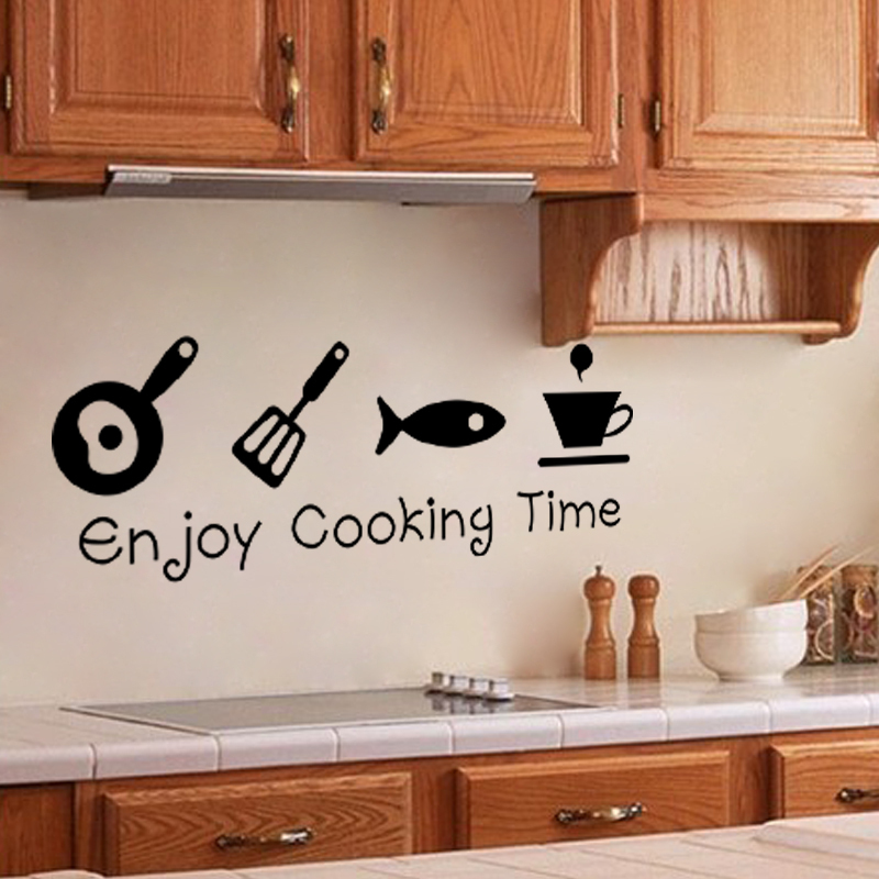Exceptional Creative DIY Quote Enjoy Cooking Time Kitchenware Wall Stickers Kitchen  Room Cup Fish Decal Home Restaurant Decoration Mural In Wall Stickers From  Home ...