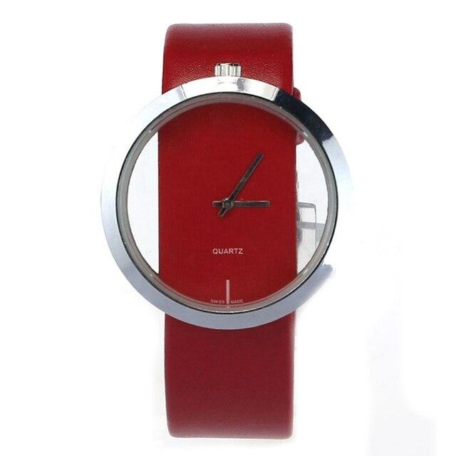 Zegarek damski ramka stylowy transparentny 3 kolory