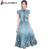 New Artificial Silk Women Summer Chiffon Dress Stand Collar Short Sleeve Waisted Print Vintage Dresses Elegant Long Dress J119