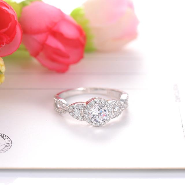 Engrave Name 925 Sterling Silver Ring with Clear Zircon Crystal