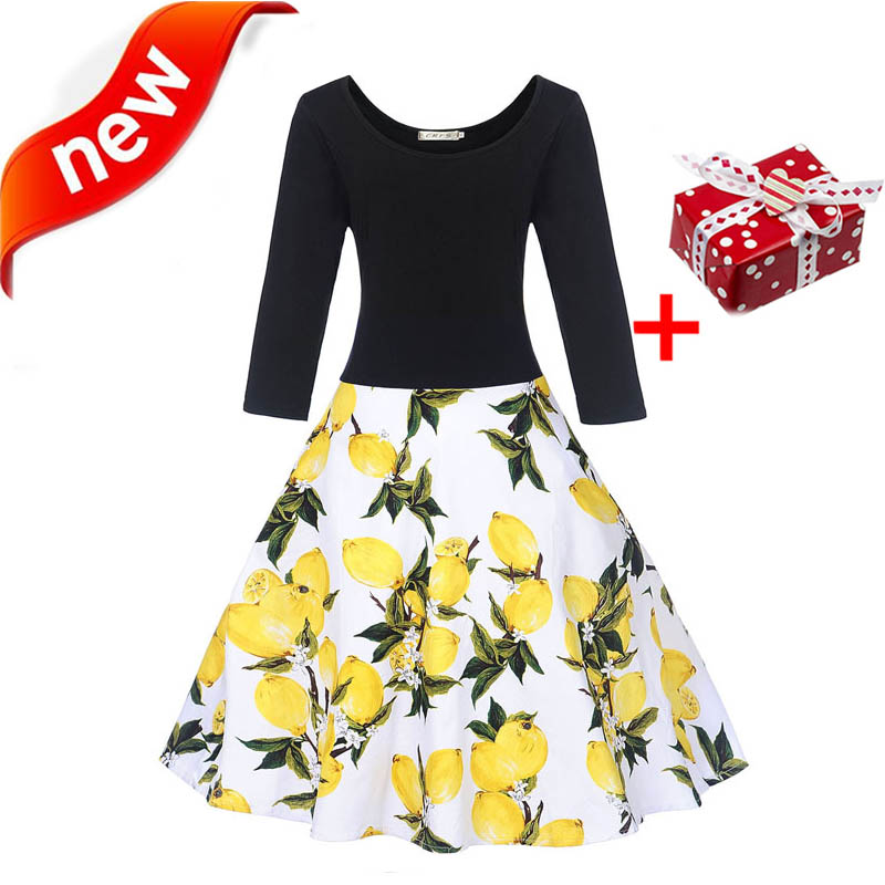 Dresses Autumn Dress Women 2018 Long Sleeve Cotton Plus Size XXL Lemon Cherry Winter Dot Floral Vintage Elegant Midi Party Dress