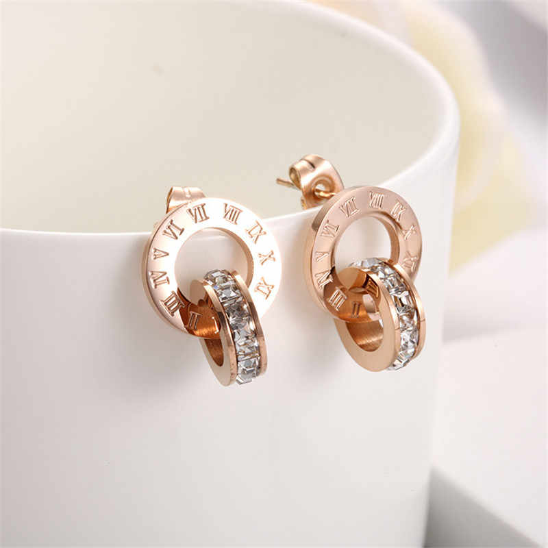 Martick Roman Numerals Earrings With AAA CZ Fashion Jewelry Stud Earrings For Women Rose Gold-color Earring M6