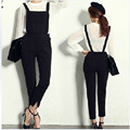 Free Shipping 2016 New Plus Size Customized 6XL Bib Pants Jumpsuit Black Casual Personality Skinny Pants For Women ol Rompers XL