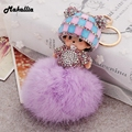 Girls Gift Cute Inlay Rhinestone monchichi dolls Pendant necklace Rabbit Fur ball pom pom long necklaces Jewelry key chain