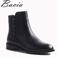 Bacia Full Grain Leather Short Boots With 2 5cm Heel Black Warm Wool Winter Boots Fashion