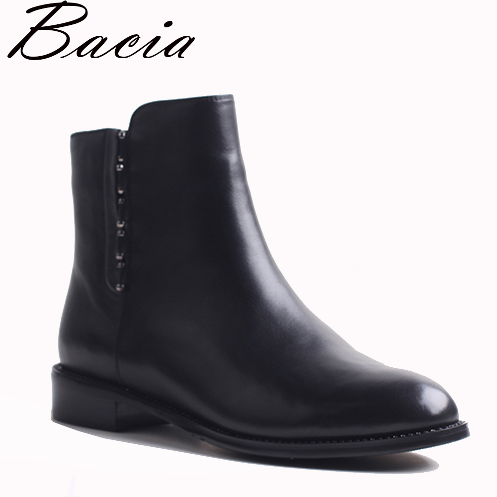 Bacia New Full Grain Leather Short Boots Low Heel Black Warm Wool Winter Female Leather Boot Fashion Metal Ankle Shoes VXB002