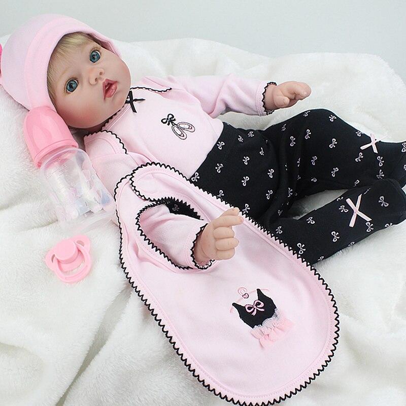 NPK Doll Reborn Baby 55cm Silicone Boneca Vinyl Fashion Dolls Princess Children Birthday Gift Toys for