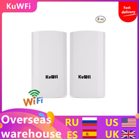 2PCS 300Mbps Wireless CPE Outdoor 2KM P2P Wireless Bridge Router Wifi Repeater Supports WDS Function No Setting with LED Display