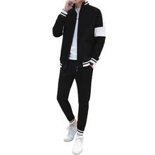 Men Stripe Patchwork Tracksuit Athletic Two Piece  Zip-up Jacket and Skinny Long Pants Sport wear Suit Men's Jogger Set все цены