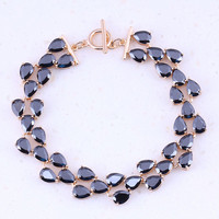 Vesplendent Black Created Sapphire Yellow Gold Plated Charm Bracelets For Women Trend Party Fashion Jewelry Free