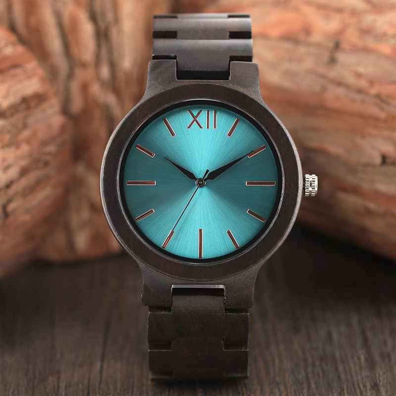 Mens Wood Watch Full Ebony Wooden Band Quartz Watches Creative Aquamarine/Yellow Dial Sports Clock Gifts for Men Reloj de madera