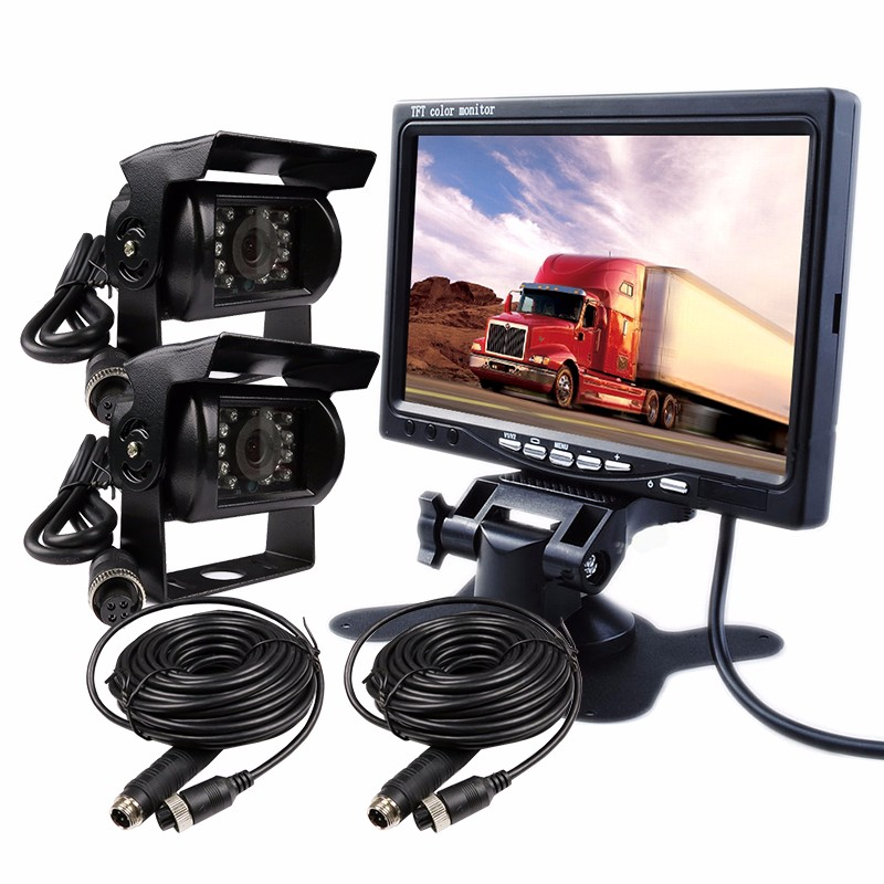 7 TFT LCD Color Monitor with 15 Meters Cable 2 Channel DC12V-24V Color Rear View Car Monitor For Car Truck Bus Van diysecur 4pin dc12v 24v 7 inch 4 split quad lcd screen display rear view video security monitor for car truck bus cctv camera