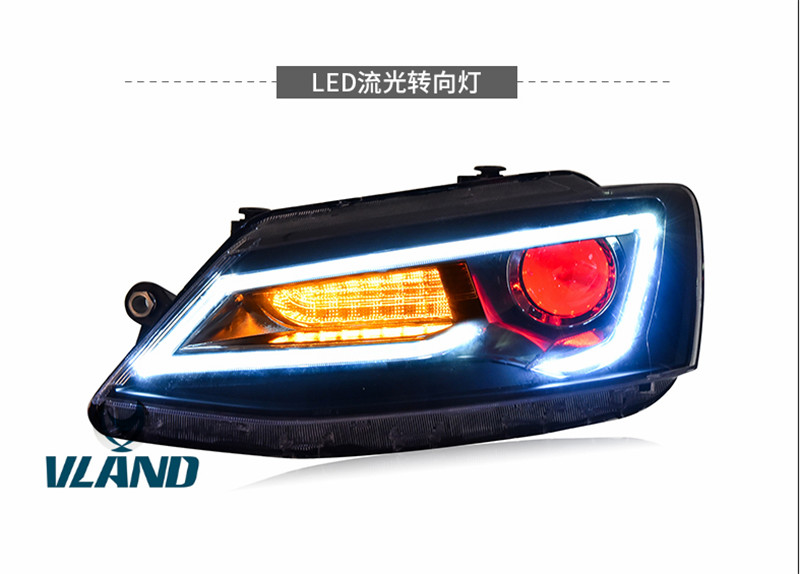 Free Shipping for Vland Auto Car Head Lamp for Jetta LED Headlight A5 Design with red Lens Moving Turn Signal Light Xenon Lamp free shipping china vland car led tail lamp for 2008 2015 mitsubishi lancer a6l style taillight with led moving signal light