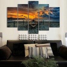 5 Panel Sunset Beach Landscape Canvas Oil Painting For Home Decor Wall Art Unframed