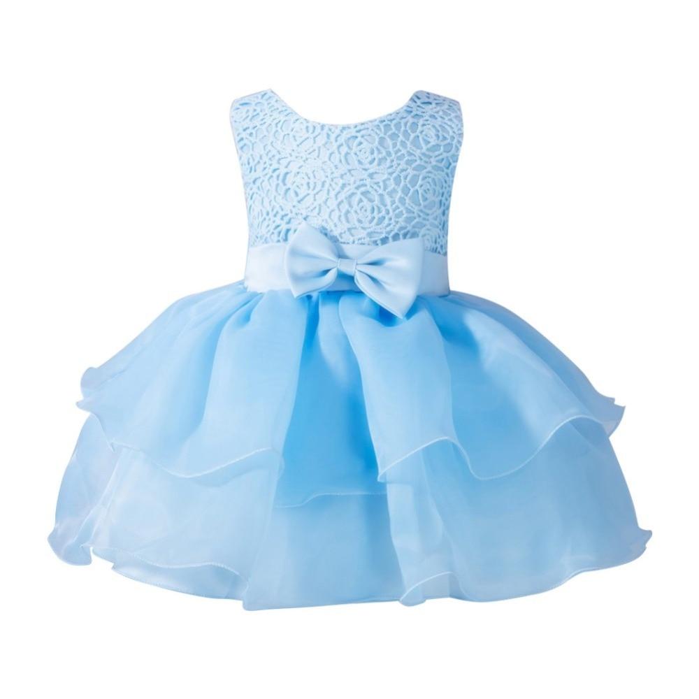 1Year Light Blue Summer Infant Girl Bow Evening Dress Princess ...