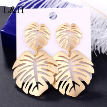 L&H 2019 Fashion Female Drop Earrings Bohemia Vintage Charm Statement Gold Color Leaves For Women Ear Jewelry