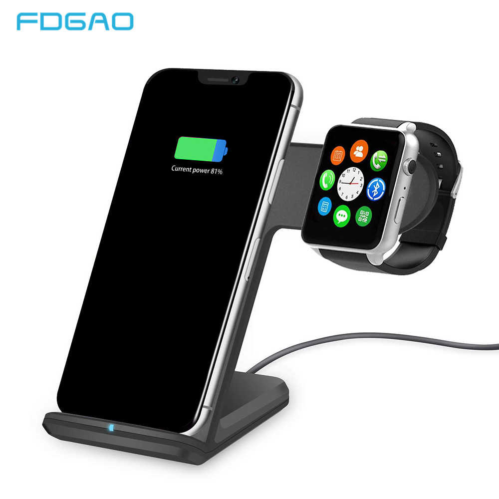 Fdgao Qi Wireless Charger untuk Apple Watch 4 3 2 iPhone 8 Plus X XS Max XR Samsung S9 S8 usb Cepat Pengisian Nirkabel Berdiri