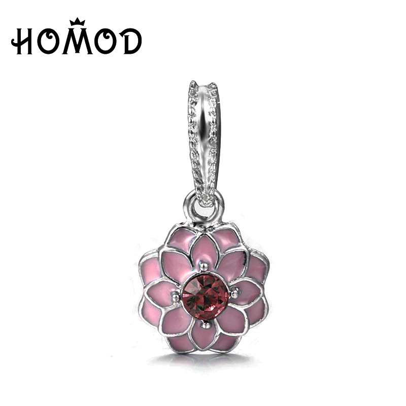 High Quality Antique Silver Plated Flower Crown dangling Charm Beads Fit Original Pandora Charm Bracelet Authentic Jewelry Gift