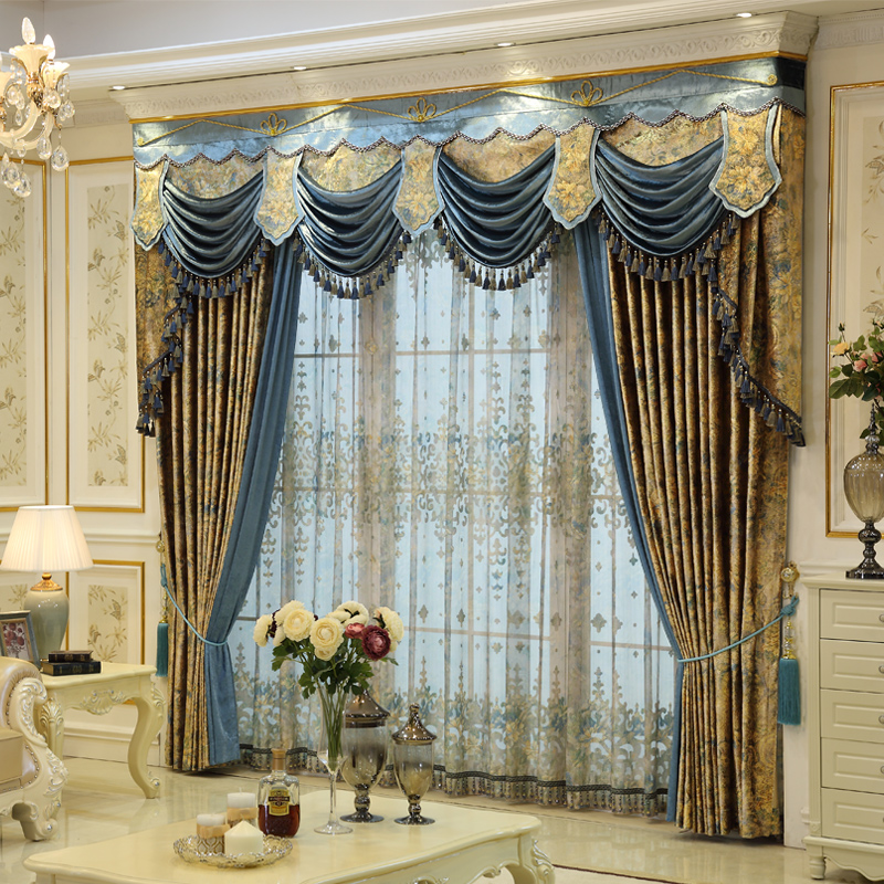 Custom curtains French European style curtains villa Elegant Gold luxurious printing cloth blackout curtain valance tulle E803Custom curtains French European style curtains villa Elegant Gold luxurious printing cloth blackout curtain valance tulle E803