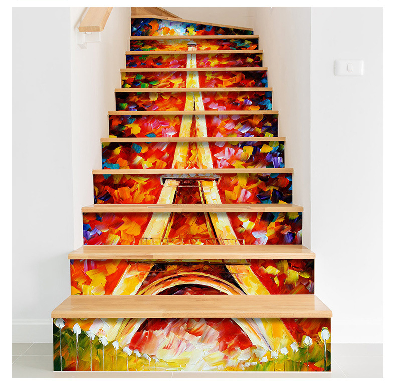 Home stairs scenery self-adhesive stickers, waterproof, anti-skip, Item No. XH-CLT sunset seside coconut palms scenery printed waterproof bath curtain