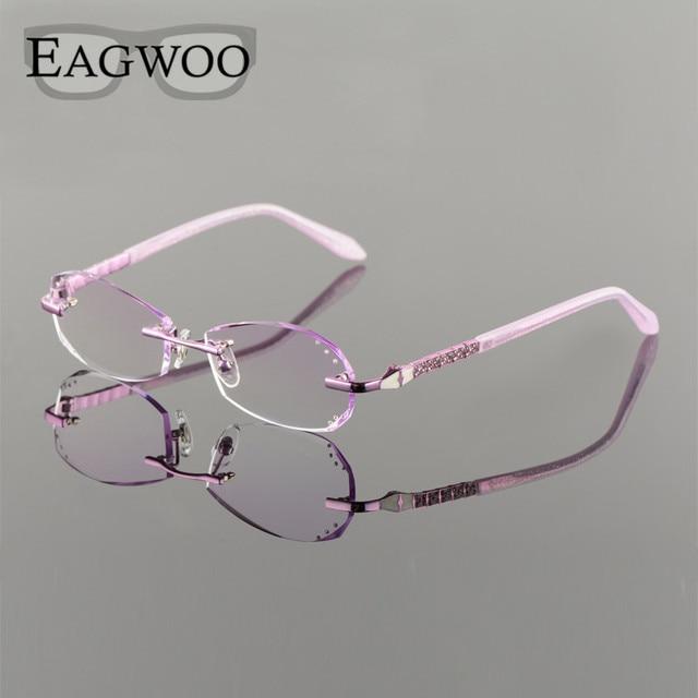 ebc08b457e6 Metal Alloy Eyeglasses Women Rimless Prescription Reading Myopia Color MR-8  Diamond Glasses Frameless Crystal