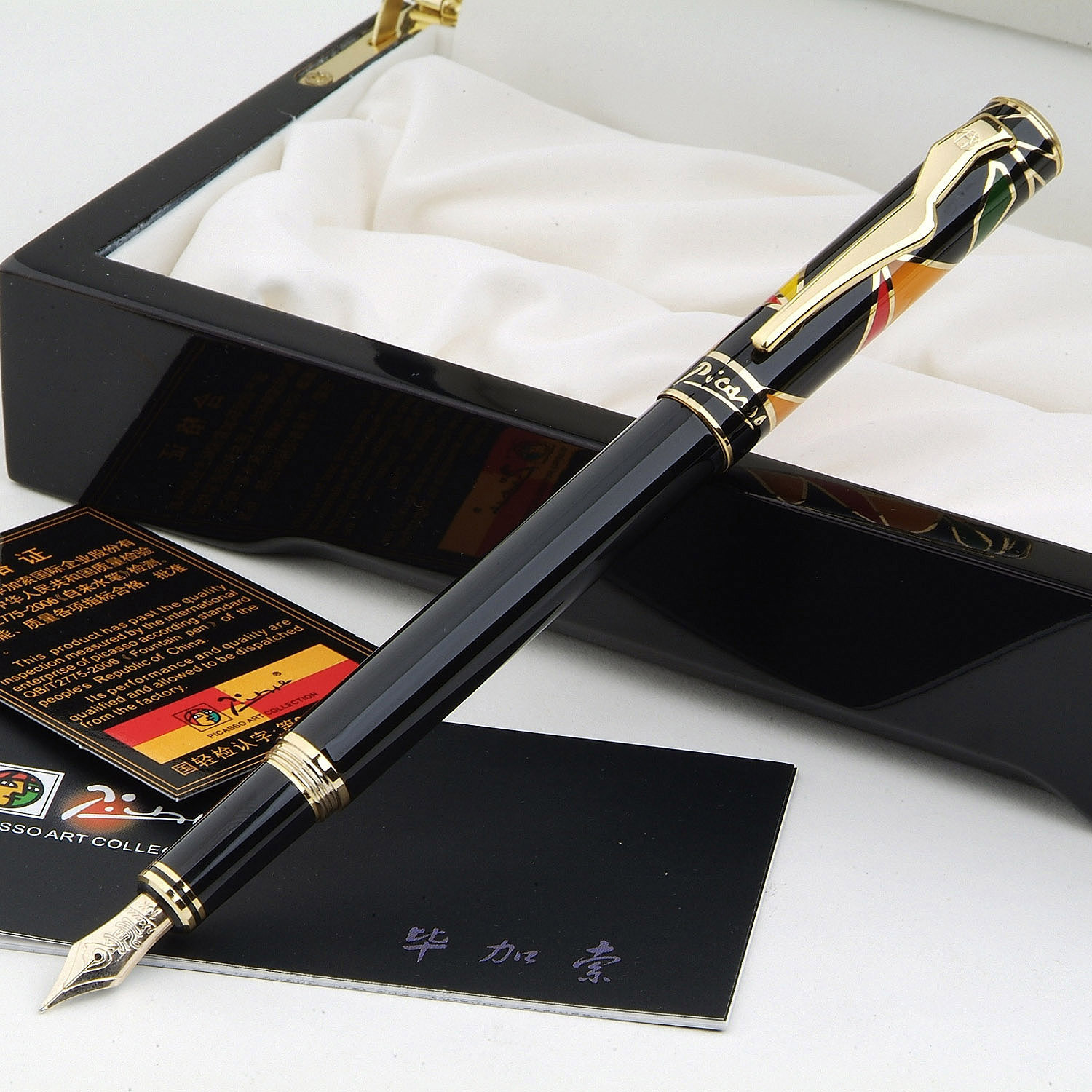 Picasso Pimio 80 Fashion High Quality 10K Fountain Pen with Gem on The Top with Original Wooden Gift Box Ink Pens Free Shipping cardiofax gem ekg 9022 k