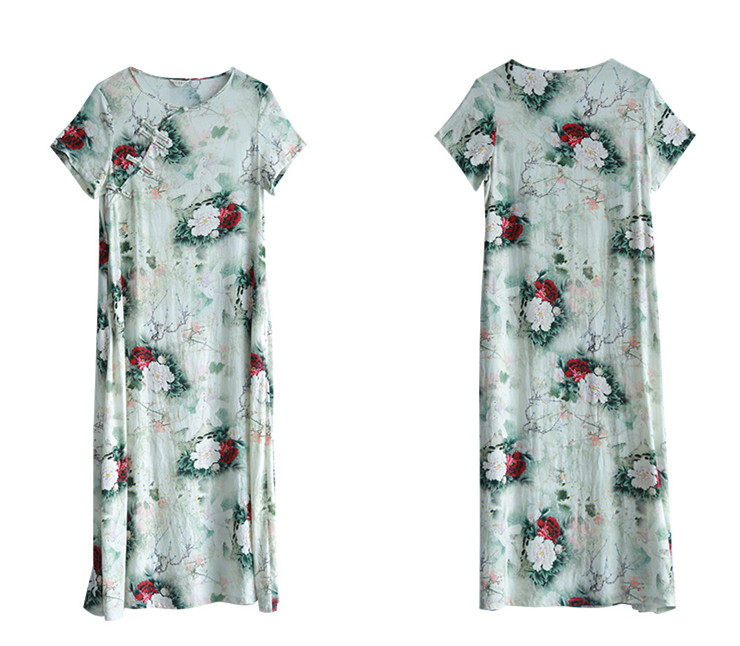 LZJN Original 2019 Summer Maxi Dress Women Short Sleeve Vintage Cotton Linen Showy Peony Printed Kaftan Dress with Side Pockets  (12)