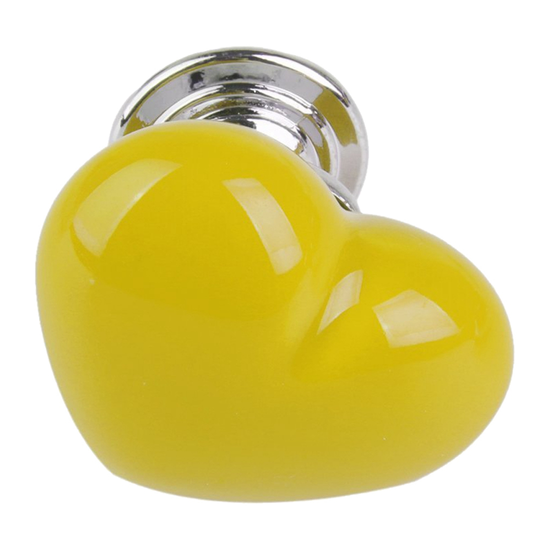 1pc Heart Shape Furniture Cabinet Cupboard Drawer Ceramic Handle Pull Knob (S, Yellow)