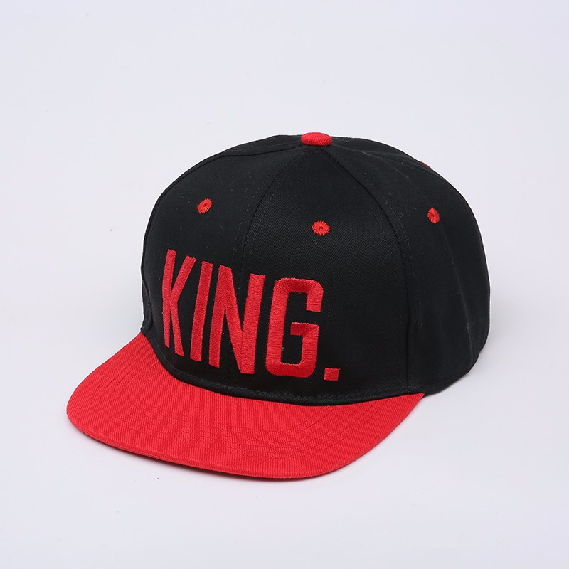 "Embroidered ""King and Queen"" Snapback Cap Set - Black King Cap with Red Embroidery"