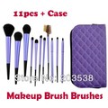 Free Shipping Drop Shipping 11PCS Nylon Hair Make Up Brush Makeup Brushes With Cosmetic Bags Purple Color