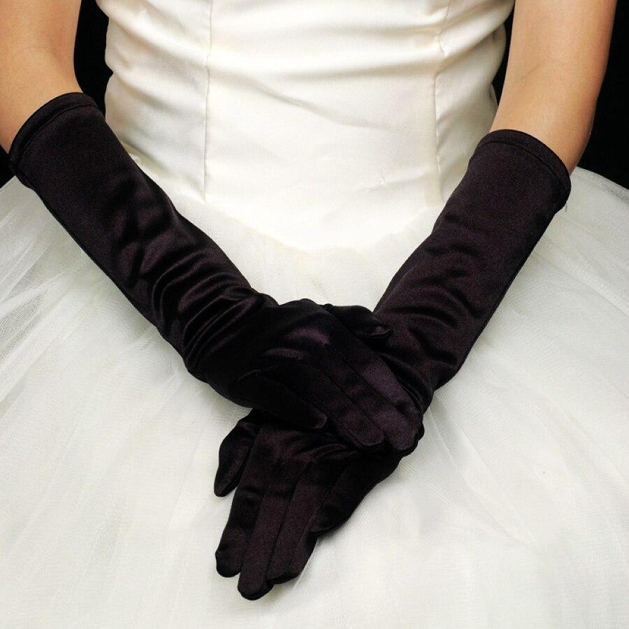 Black gloves evening wear - In Stock Wholesale Bride Black White Ivory Champange 2017 Ladies Wedding Gloves Evening Dress Elbow Long Satin Bridal Glove