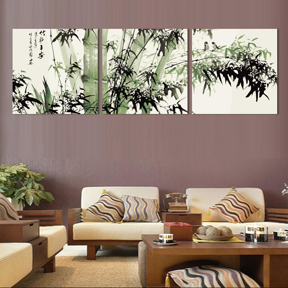 Bamboo canvas wall art landscape painting 3 pieces large for House decoration pieces