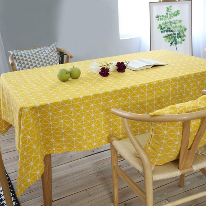 YHYS jaune échiquier décoratif nappe coton linge nappe Table à manger couverture pour cuisine décor à la maison