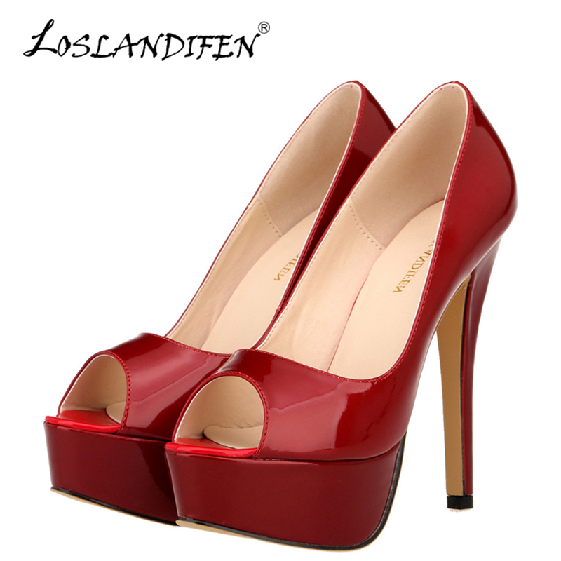 LOSLANDIFEN New Peep Toe Platform Women Pumps 14cm Sexy Patent Leather Extremely High Heels Shoes Red Dress Wedding Pumps Woman cdts 35 45 46 summer zapatos mujer peep toe sandals 15cm thin high heels flowers crystal platform sexy woman shoes wedding pumps