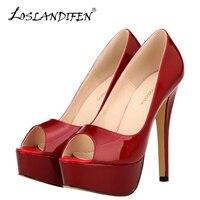 Loslandifen new peep toe nền tảng phụ nữ bơm 14 cm sexy patent leather cực kỳ cao gót giày váy màu đỏ wedding bơm người phụ n