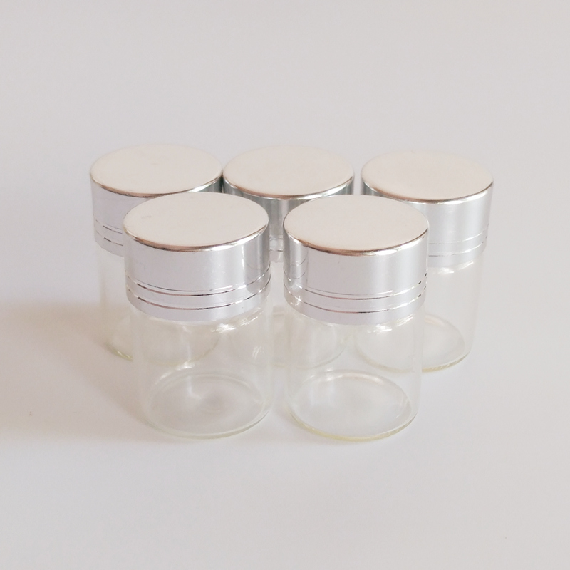 50pcs lot Small 5ml glass bottle 22 30mm Sliver edge Screw cap glass vial Dry goods Glass jar Home decoration crafts in Bottles Jars Boxes from Home Garden