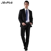 2 Pcs ( Jacket + Pants ) único Breasted do smoking ternos Masculino 2015 marca de moda ternos de vestido de casamento branco preto Y1(China (Mainland))