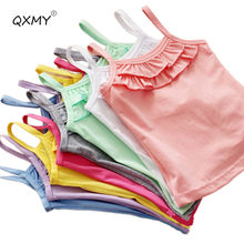 New Summer Girls T Shirt Cotton Sleeveless Garment T Shirt For Girls Tops Tees Outwear Clothing Baby Kids Clothes 2-8 Year(China)