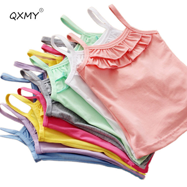 New Summer Girls T Shirt Cotton Sleeveless Garment T Shirt For Girls Tops Tees Outwear Clothing Baby Kids Clothes 2-8 Year