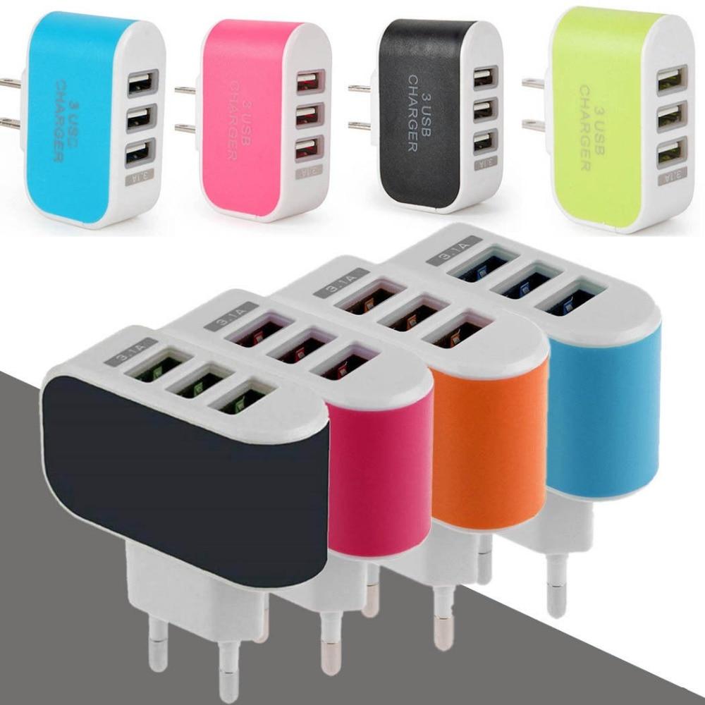 EU/US Plug 3.1A Wall Charging Adapter For Samsung iPhone HTC Nokia LG 3 USB Port