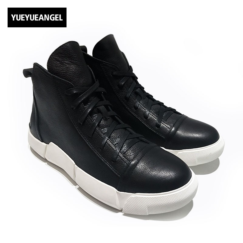 Fashion Men Shoes Genuine Leather Zip Ankle High Top Luxury Trainers 2018 New Thick Platform Casual Lace-up Flats Black Shoes new fashion men luxury brand casual shoes men non slip breathable genuine leather casual shoes ankle boots zapatos hombre 3s88